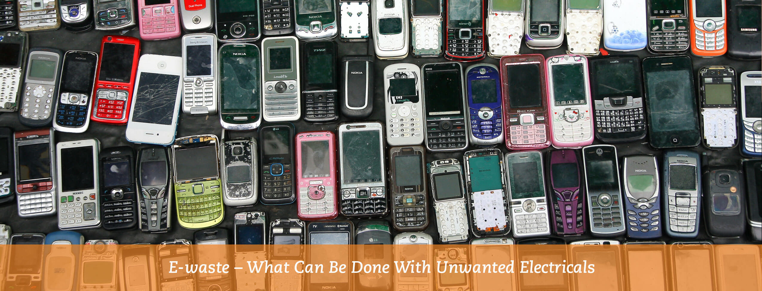 lots of old mobile phones to be recycled