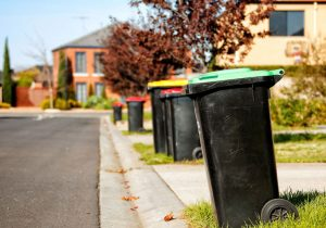 Line of rubbish bins on the kerb