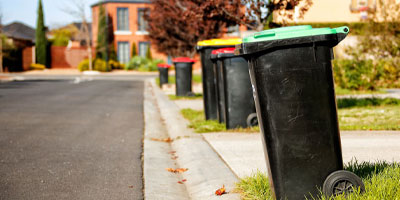 Line of rubbish bins on kerbside