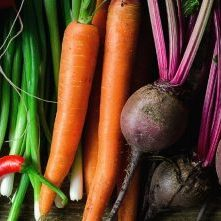 Home grown vegetables of various colours